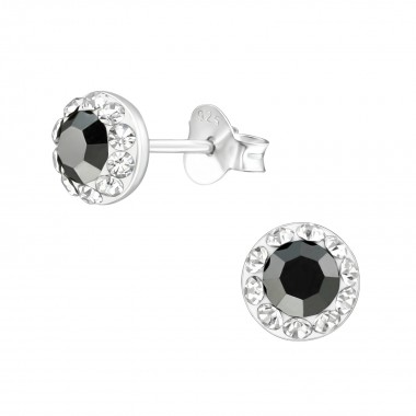 Round - 925 Sterling Silver Kids Ear Studs with Crystal SD38874