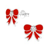 Bow - 925 Sterling Silver Kids Ear Studs with Crystal SD39015