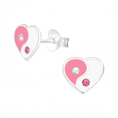Yin-Yang - 925 Sterling Silver Kids Ear Studs with Crystal SD39016
