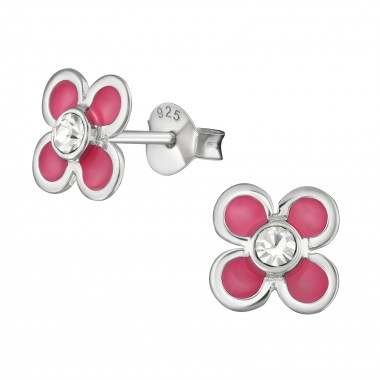 Flower - 925 Sterling Silver Kids Ear Studs with Crystal SD39018
