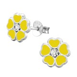 Flower - 925 Sterling Silver Kids Ear Studs with Crystal SD3912