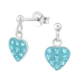 Hanging Heart - 925 Sterling Silver Kids Ear Studs with Crystal SD39324