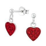 Hanging Heart - 925 Sterling Silver Kids Ear Studs with Crystal SD39325