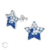 Star - 925 Sterling Silver Kids Ear Studs with Crystal SD39426
