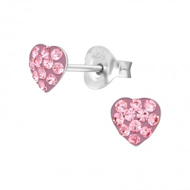 Heart - 925 Sterling Silver Kids Ear Studs with Crystal SD39452