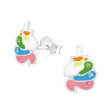 Unicorn - 925 Sterling Silver Kids Ear Studs with Crystal SD39569