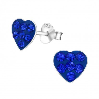 Heart - 925 Sterling Silver Kids Ear Studs with Crystal SD39628