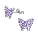 Butterfly - 925 Sterling Silver Kids Ear Studs with Crystal SD39638