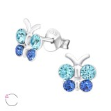 Butterfly - 925 Sterling Silver Kids Ear Studs with Crystal SD39703