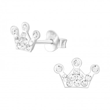 Crown - 925 Sterling Silver Kids Ear Studs with Crystal SD39850