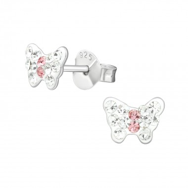 Butterfly - 925 Sterling Silver Kids Ear Studs with Crystal SD39853