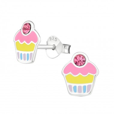 Cupcake - 925 Sterling Silver Kids Ear Studs with Crystal SD39857