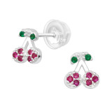 Cherry - 925 Sterling Silver Kids Ear Studs with Crystal SD40127