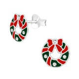 Wreath - 925 Sterling Silver Kids Ear Studs with Crystal SD40313