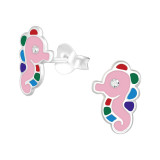Sea horse - 925 Sterling Silver Kids Ear Studs with Crystal SD40338