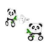 Panda - 925 Sterling Silver Kids Ear Studs with Crystal SD40356
