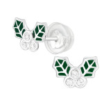 Holly Leaves - 925 Sterling Silver Kids Ear Studs with Crystal SD40389