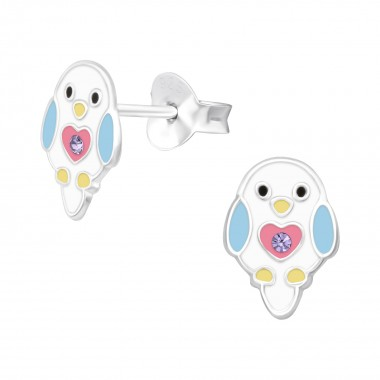 Chick - 925 Sterling Silver Kids Ear Studs with Crystal SD40520