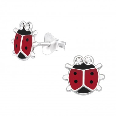 Ladybug - 925 Sterling Silver Kids Ear Studs with Crystal SD40522