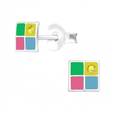 Geometric - 925 Sterling Silver Kids Ear Studs with Crystal SD40526