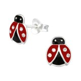 Ladybug - 925 Sterling Silver Kids Ear Studs with Crystal SD40647