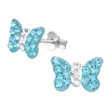 Butterfly - 925 Sterling Silver Kids Ear Studs with Crystal SD40666