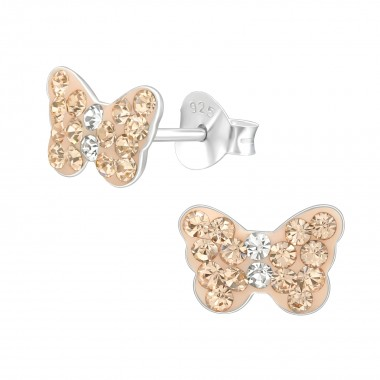 Butterfly - 925 Sterling Silver Kids Ear Studs with Crystal SD40751