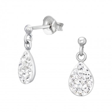 Hanging Drop - 925 Sterling Silver Kids Ear Studs with Crystal SD40987
