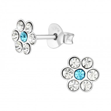 Flower - 925 Sterling Silver Kids Ear Studs with Crystal SD41021