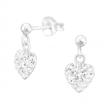 Hanging Heart - 925 Sterling Silver Kids Ear Studs with Crystal SD41027