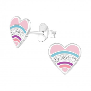 Heart - 925 Sterling Silver Kids Ear Studs with Crystal SD41102