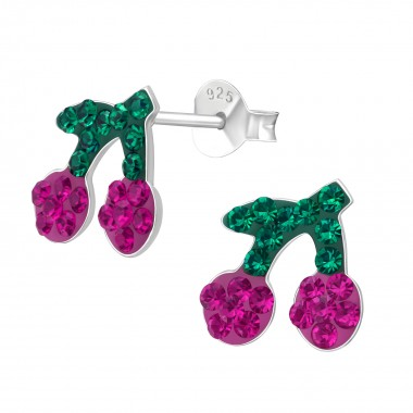 Cherry - 925 Sterling Silver Kids Ear Studs with Crystal SD41129