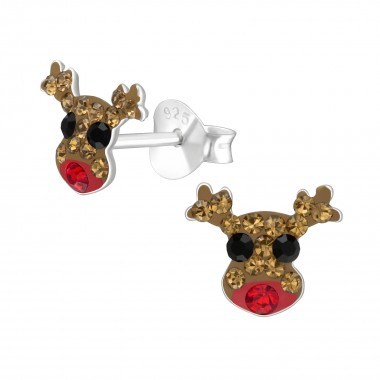 Reindeer - 925 Sterling Silver Kids Ear Studs with Crystal SD41130