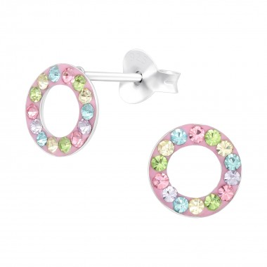 Circle - 925 Sterling Silver Kids Ear Studs with Crystal SD41131