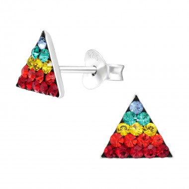 Triangle - 925 Sterling Silver Kids Ear Studs with Crystal SD41132
