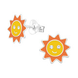Sun - 925 Sterling Silver Kids Ear Studs with Crystal SD41498