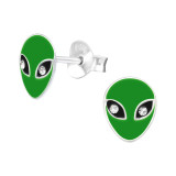 Alien - 925 Sterling Silver Kids Ear Studs with Crystal SD41513