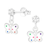 Hanging Butterfly - 925 Sterling Silver Kids Ear Studs with Crystal SD41601