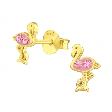 Flamingo - 925 Sterling Silver Kids Ear Studs with Crystal SD41640