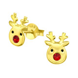 Reindeer - 925 Sterling Silver Kids Ear Studs with Crystal SD41745
