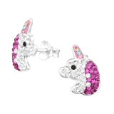 Unicorn - 925 Sterling Silver Kids Ear Studs with Crystal SD41797