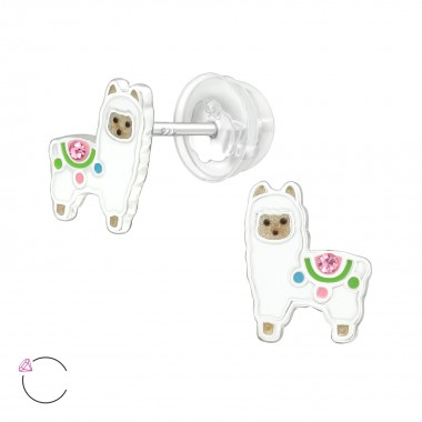 Alpaca - 925 Sterling Silver Kids Ear Studs with Crystal SD41928