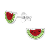 Watermelon - 925 Sterling Silver Kids Ear Studs with Crystal SD42143