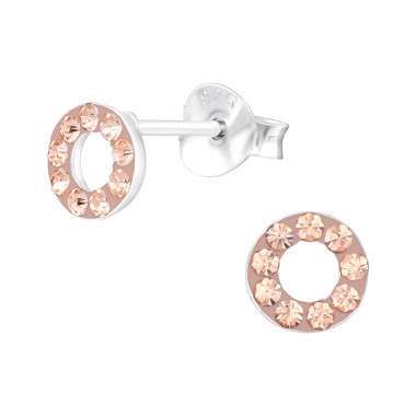 Circle - 925 Sterling Silver Kids Ear Studs with Crystal SD42185