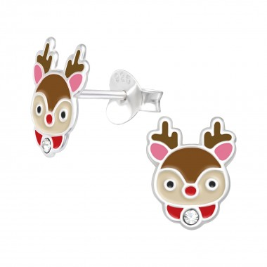Reindeer - 925 Sterling Silver Kids Ear Studs with Crystal SD42546