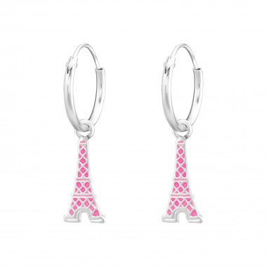 Hanging Eiffel Tower - 925 Sterling Silver Kids Hoops SD36481