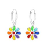 Hanging Flower - 925 Sterling Silver Kids Hoops SD37217
