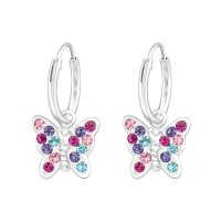 Hanging Butterfly - 925 Sterling Silver Kids Hoops SD38477