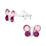 Butterfly - 925 Sterling Silver Kids Ear Studs with Crystal SD42414