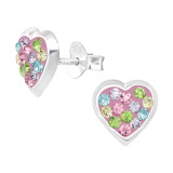 Heart - 925 Sterling Silver Kids Ear Studs with Crystal SD42420